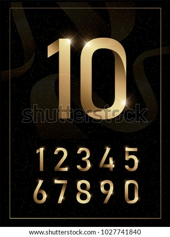 Elegant golden metal numbers. 1, 2, 3, 4, 5, 6, 7, 8, 9, 10. Gold number alphabet typeface glowing text effect. vector illustration Royalty-Free Stock Photo #1027741840