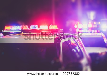Police Time Checkpoint. Police Cruiser Lights Closeup Photo.