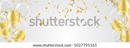 Vector party balloons illustration. Confetti and ribbons flag ribbons, Celebration background template  Royalty-Free Stock Photo #1027795165