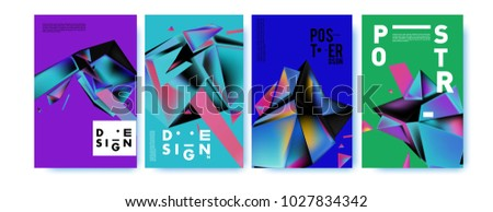 Abstract geometric colorful background for poster and cover design. Blue, yellow, red, orange, pink and green. Vector banner poster template in Eps10. #1027834342