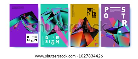 Abstract geometric colorful background for poster and cover design. Blue, yellow, red, orange, pink and green. Vector banner poster template in Eps10. #1027834426
