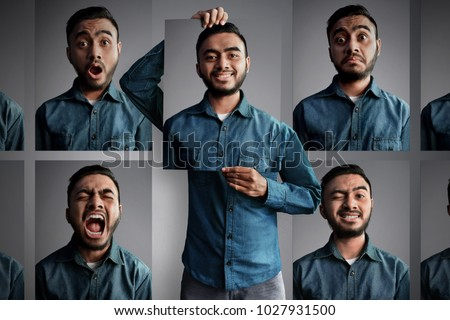 Man with different emotions