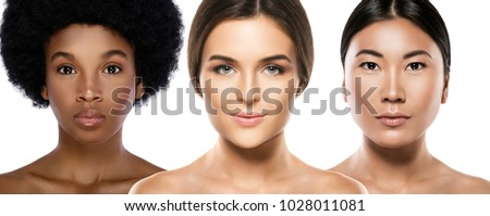 Multi-ethnic beauty. Different ethnicity women - Caucasian, African, Asian. Royalty-Free Stock Photo #1028011081