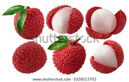 Fresh lychee with leaves set isolated on white background as package design elements #1028013703