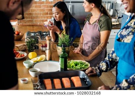 Diverse people joining cooking class #1028032168