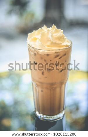 Iced coffee cup background atmosphere vintage #1028115280