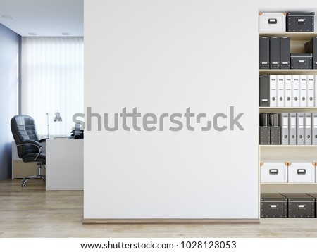 Office wall mock up interior. Wall art. 3d rendering, 3d illustration #1028123053