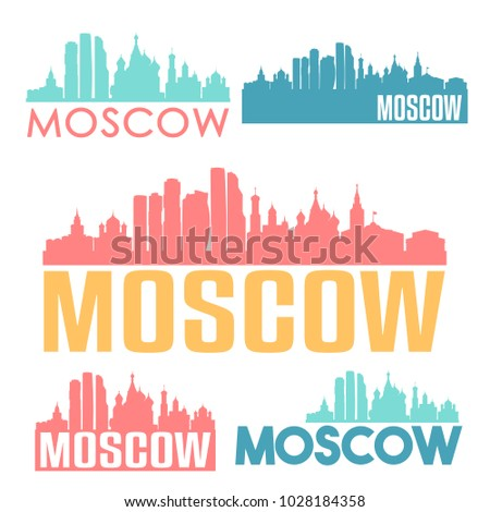 Moscow Russia Flat Icon Skyline Vector Silhouette Design Set