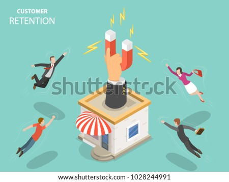 Customer retention flat isometric vector concept. Hand with magnet has appeared from the store building attracting people from everywhere.