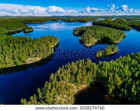 Aerial view of blue lakes and green forests on a sunny summer day in Finland. drone photography #1028274760