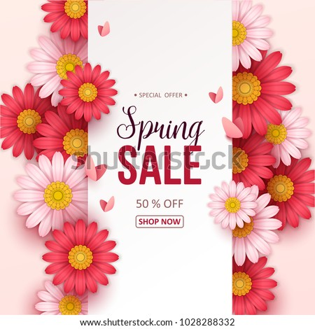 Spring sale background with beautiful flowers. Royalty-Free Stock Photo #1028288332