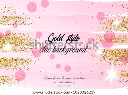 Gold pink color background. Luxury chic designe. Elegant style background for site, blog, wedding, invitation, card, presentation.