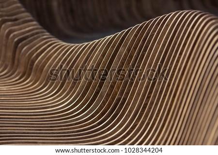 Brown red real walnut wooden furniture panel round circle spiral pattern fractal background. Furniture wall decoration element. Wooden decoration element fractal background. Spiral fractal pattern #1028344204