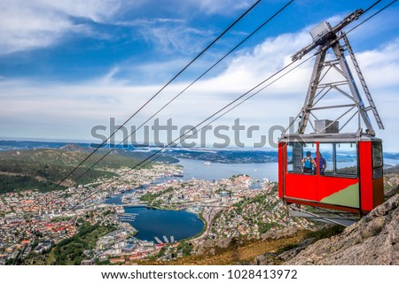 Ulriken cable railway in Bergen, Norway. Gorgeous views from the top of the hill. #1028413972
