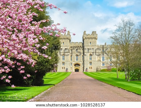 Long walk to Windsor castle in spring, London suburbs, UK Royalty-Free Stock Photo #1028528137