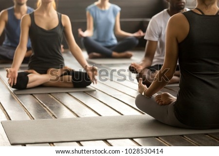 Group of young sporty people practicing yoga lesson with instructor, sitting in Sukhasana exercise, Easy Seat pose, working out, students training in sport club, studio close up, back view #1028530414