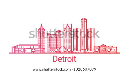 Colored line banner of Detroit city. All buildings - customizable different objects with clipping mask, so you can change background and composition. Line art.