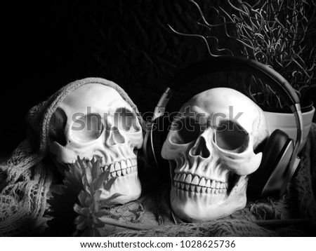 Close up photography black and white of skull life and headphones. / Still life and art image.