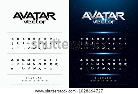 Technology alphabet silver metallic and effect designs for logo; Poster; Invitation. Exclusive Letters Typography regular font digital and sport concept. vector illustrator #1028664727