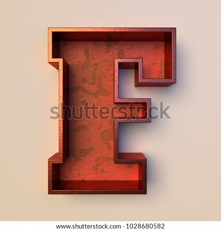 Vintage painted wood letter F with copper metal frame