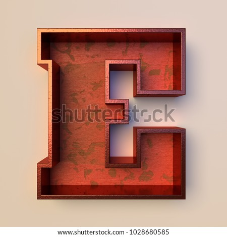 Vintage painted wood letter E with copper metal frame