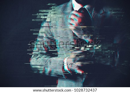 Young business professional with glitch effect background #1028732437