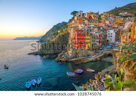 Riomaggiore, the first city of the Cique Terre sequence of hill cities in Liguria, Italy #1028745076
