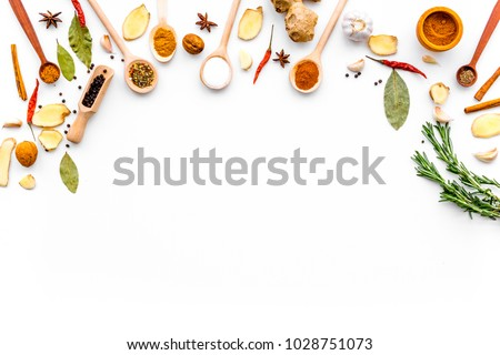 Seasoning background. Dry spices near ginger, garlic, rosemary, laurel leaf on white background top view copy space Royalty-Free Stock Photo #1028751073