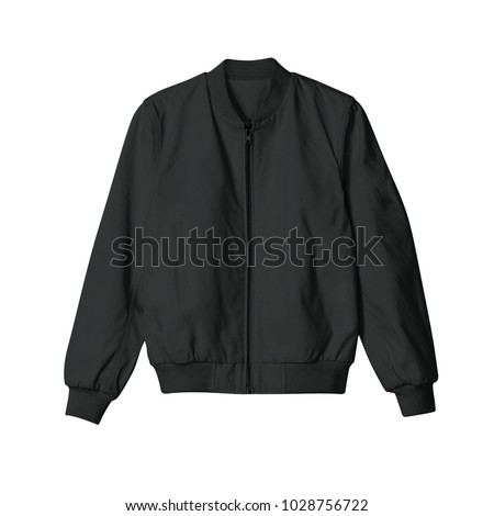 blank jacket bomber black color in front view for mockup template on white background isolated Royalty-Free Stock Photo #1028756722