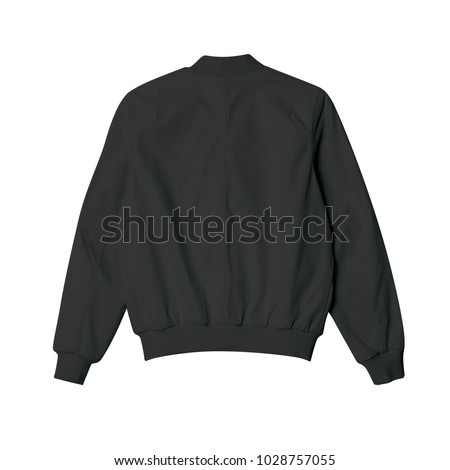 blank jacket bomber black color in back view for mockup template on white background Royalty-Free Stock Photo #1028757055