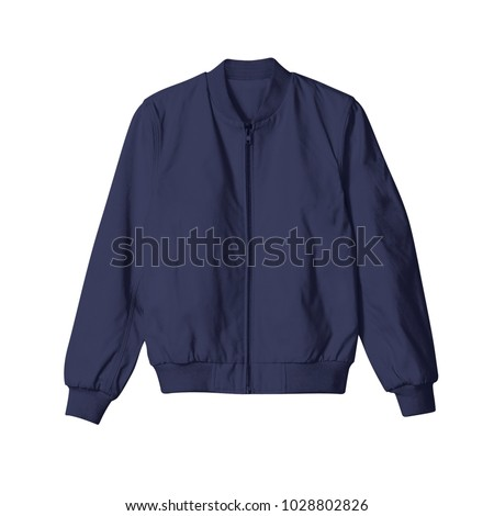 blank jacket bomber navy blue color in front view on white background for mockup template Royalty-Free Stock Photo #1028802826