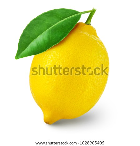 lemon fruit with leaf isolated on white background Clipping Path #1028905405