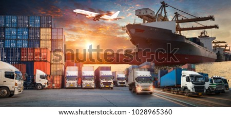 Logistics and transportation of Container Cargo ship and Cargo plane with working crane bridge in shipyard at sunrise, logistic import export and transport industry background #1028965360