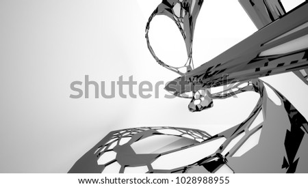 Abstract white and black parametric interior with window. 3D illustration and rendering. #1028988955