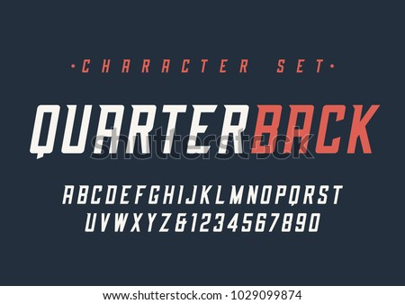 Vector condensed italic dynamic display font design, alphabet, character set, typeface, typography, letters and numbers. Swatch color control.