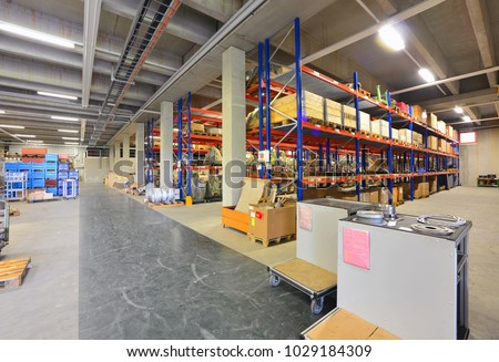 Equipment and interior of a modern industrial hall of a company  #1029184309