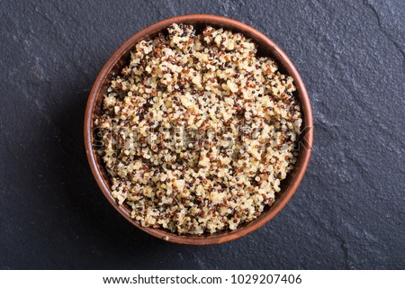 Healthy colorful cooked quinoa . Superfood background #1029207406