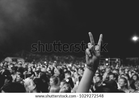 crowd of people with peace sign music festival young people rock Royalty-Free Stock Photo #1029272548