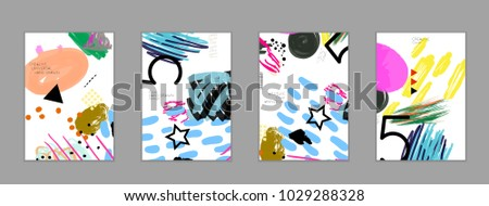 Abstract universal art web header template. Collage made with scribbles, marker, canyon strokes, black geometric shapes, ink drawn splashes. Bright colored isolated on white background cover template. #1029288328