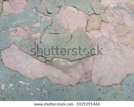 background close up of corrosion steel texture,painted and cracked peeling on old car #1029291466