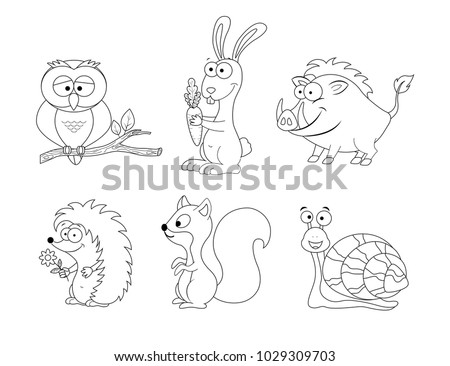 Coloring page for preschool children. Set of different cartoon forest  animals. Funny animals. Vector illustration.  Owl, boar, rabbit, squirrel, hedgehog, snail. Forest animals collection. Woodland.