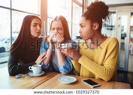 One more picture of sad girls where two of them are trying to support mentally their friend. She is crying beause of the fact she is preganat and it' not the right time for this kind of thing #1029327370