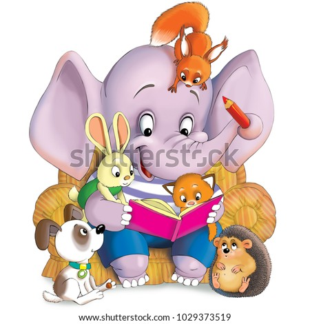 Illustration. A funny cartoon. An elephant reads a book to his little friends - a hare, a hedgehog, a puppy, a kitten and squirrel.