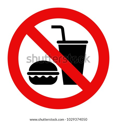 No food and no drinks allowed isolated on white background Royalty-Free Stock Photo #1029374050