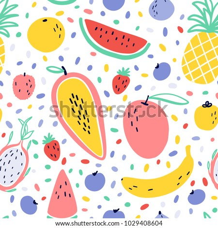 Vector tropical fruit background with pineapple, mango, watermelon, dragon fruit, banana, papaya. Summer exotic fruit seamless pattern with memphis style elements #1029408604