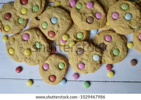 Homemade, round crispy cookies with colorful candy,  perfect for children #1029467986