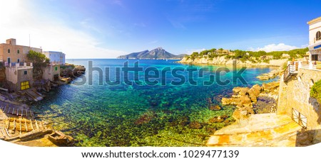 Dragonera Island Natural Park in Mallorca, Panoramic View at Sant Elm Village and the coastline with blue water, Majorca Spain #1029477139
