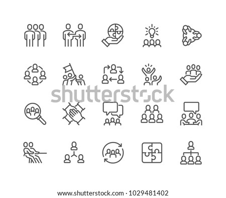 Simple Set of Team Work Related Vector Line Icons.  Contains such Icons as Collaboration, Research, Meeting and more. Editable Stroke. 48x48 Pixel Perfect. Royalty-Free Stock Photo #1029481402