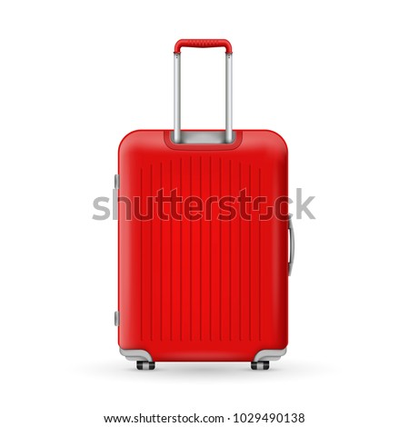 Creative vector illustration of realistic large polycarbonate travel plastic suitcase with wheels isolated on transparent background. Art design traveler luggage. Abstract concept graphic element #1029490138