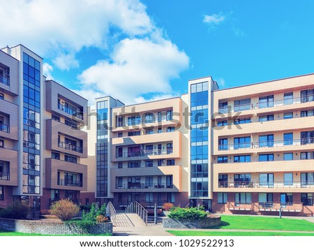 Druskininkai, Lithuania - May 1, 2017: Contemporary european complex of residential buildings. Toned #1029522913